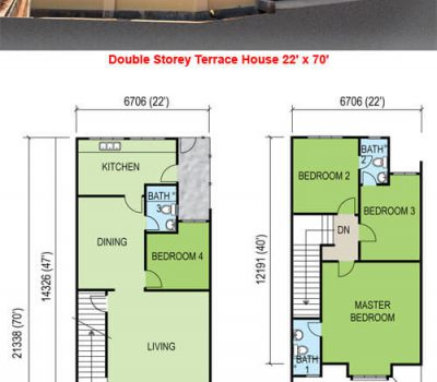 Double Storey Terrace House (22′ x 70′)