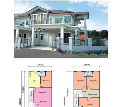 Double Storey Terrace House (24′ x 60′)