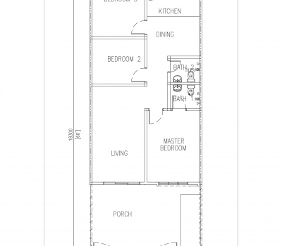 Rembia Single Storey Terrace Floor Plan 22'x60'