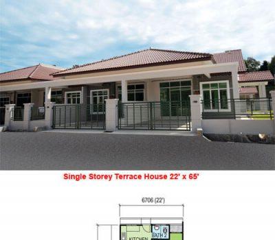 Single Storey Terrace House (22′ x 65′)